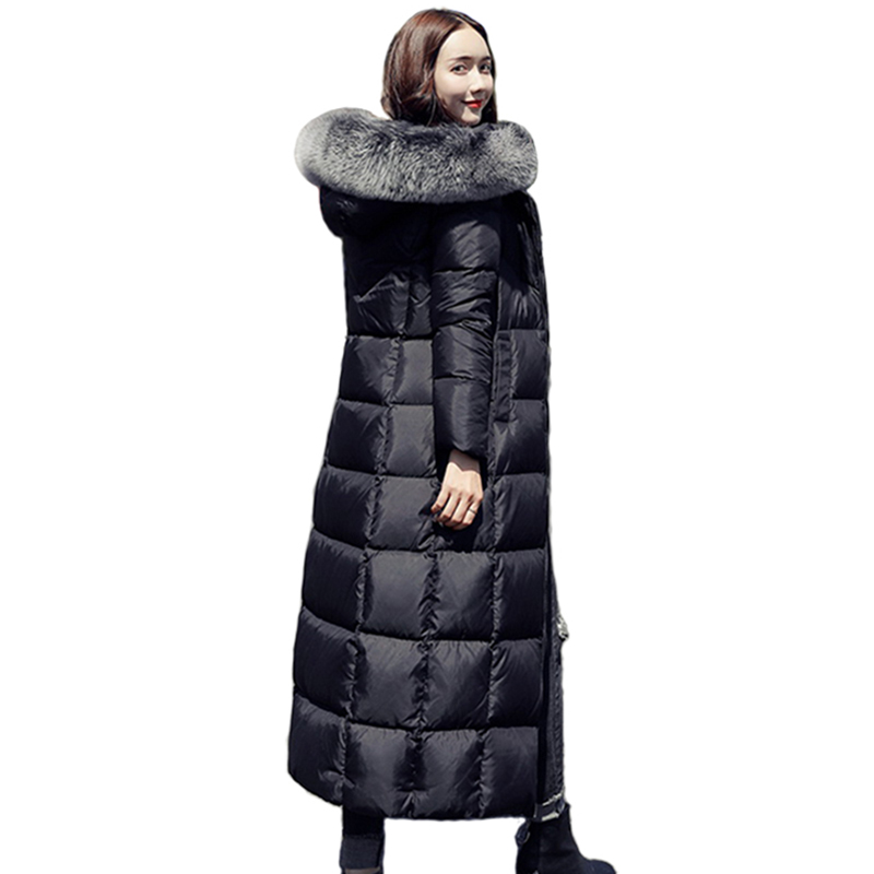 Women white duck   Down     Coat   2018 Big Fur Collar Slim Feather long Jacket Solid Color Thick Warm Hooded Parka Plus Size Outwear