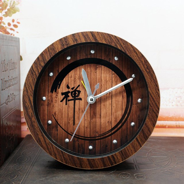 OUYUN Nostalgia Zen Chinese Alarm Clock Vintage Wood Table Clock For Living  Room Bedroom Mute Home