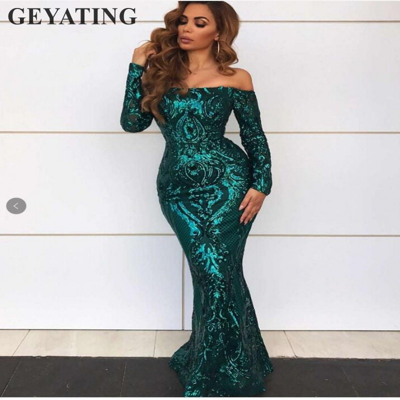 Emerald Green Sequins Mermaid   Evening     Dress   Long Sleeves Elegant Off the Shoulder Gold Formal Party Gowns Arabic Prom   Dresses