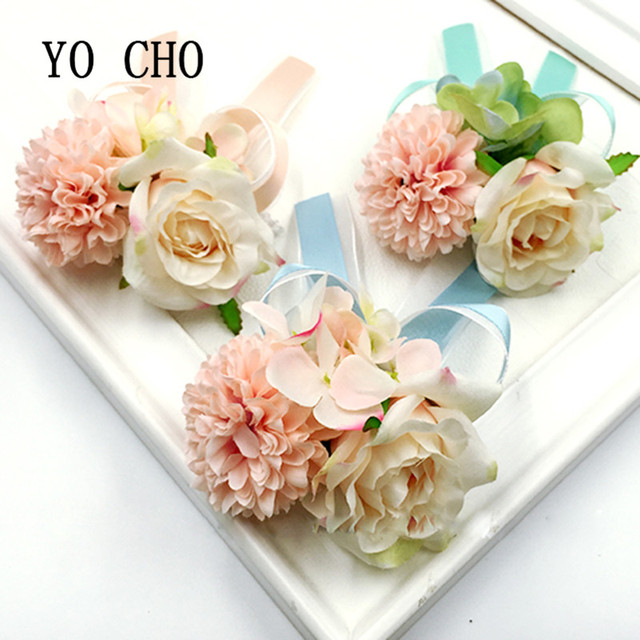 Yo Cho Flower Bracelet Prom Hand Flowers Wedding Boutonnieres Wrist Band Satin Rose Corsage