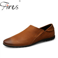 Fires Men Driving Shoes High Quality Genuine Leather Loafers Solid Color Comfortable Shoes Man's Rubber Soles Casual Shoes