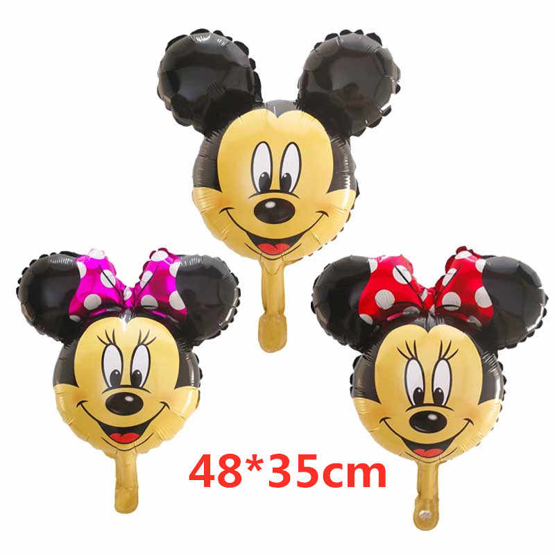 10pcs/lot mini Mickey Minnie head foil balloon With Red bowkhot Cartoon Birthday Wedding Party decorations kids toys balls
