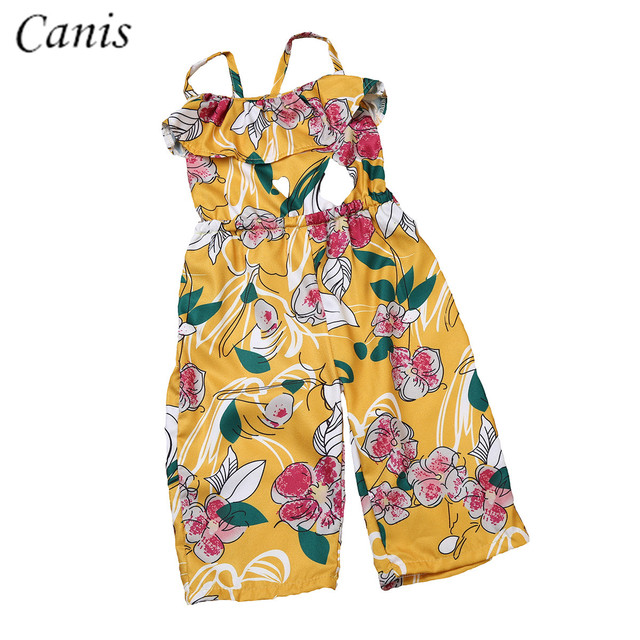 084fe85aff2b Adorable Infant Toddler Kid Baby Girl Yellow Backless Floral Romper  Jumpsuit Playsuit Outfit Clothes Set 3-7Y
