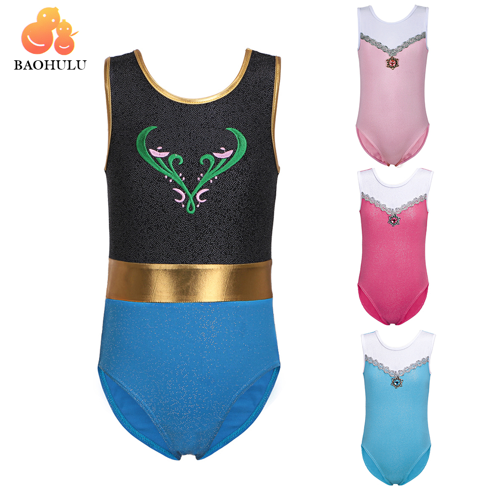 BAOHULU Jenter Gymnastic Leotards Kids Ermeløs 3-12Y Dance Leotards for Kid Girls Training Biketard Dancewear Practice Costume