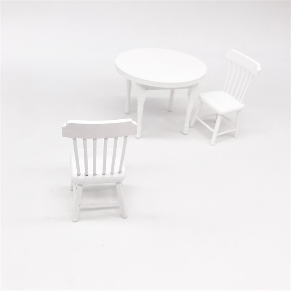 3pcs Wooden Furniture Miniature Dining Table And Chair Wooden Furniture Mini House Scene Decoration Ornaments 1:12 Mini House