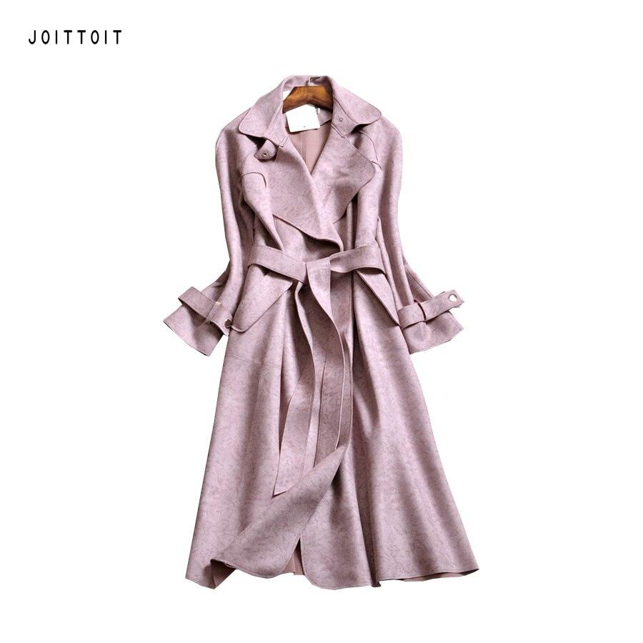 Women Autumn Winter Coat Office Ladies Green Blue Pink Grey Suede Thick Coat Women Plus Size Long Slim Coat