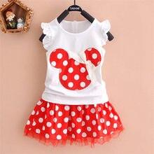 832e2242e Nuevo 2019 camiseta + falda bebé niño traje de 2 piezas de moda de niñas  conjuntos de ropa Minnie ropa de los niños bowknot cami.