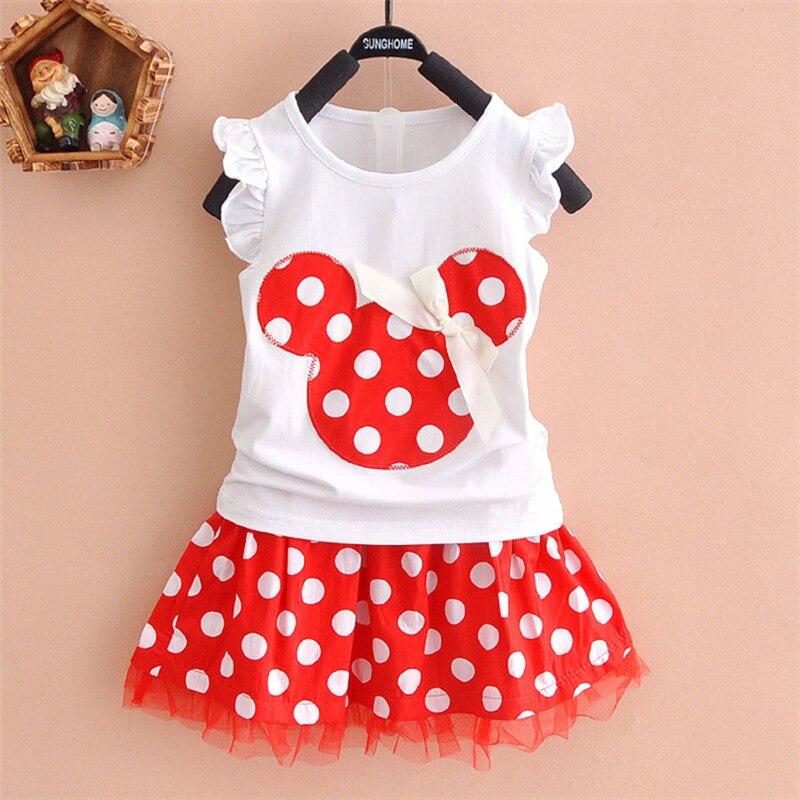 Nuevo 2019 camiseta + falda bebé niño traje de 2 piezas de moda de niñas conjuntos de ropa Minnie ropa de los niños bowknot camisa vestido de 2-10