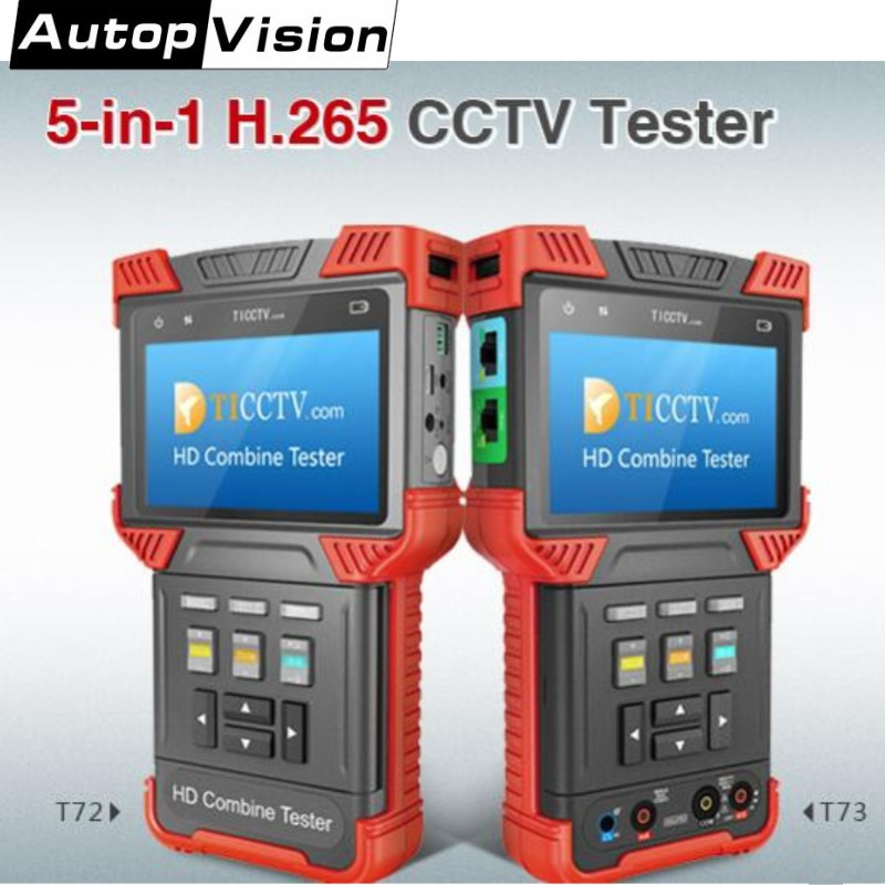 Newest 5-in-1 H.265/H.264 CCTV Tester Monitor DT-T72/T73 IP Camera Tester Support Analog CVI TVI AHD/ONVIF /Digital Multimeter