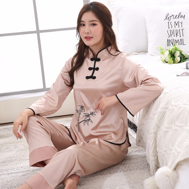 Hot Sale New Women Satin Pajamas Set Camel 2 PCS Causal Nightwear Pyjamas  Suit Chinese Style e0d8e6673