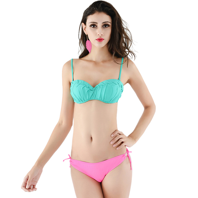 c88b954232 Sexy Woman Bikini Two Piece Swimwear Green Top Pink Bottom Swimsuit Beach  Bathing Suits Swimming Girl 11727017