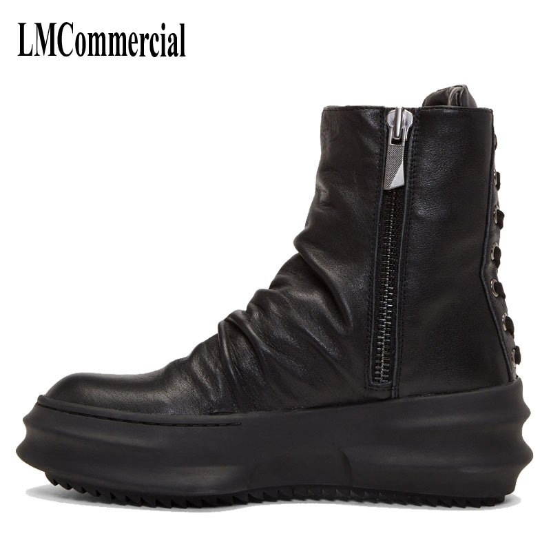 High Martin round men leather boots British winter Korean Retro Black or men shoes warm Martin boots breathable fashion boots martin boots men s high boots korean shoes autumn winter british retro men shoes front zipper leather shoes breathable