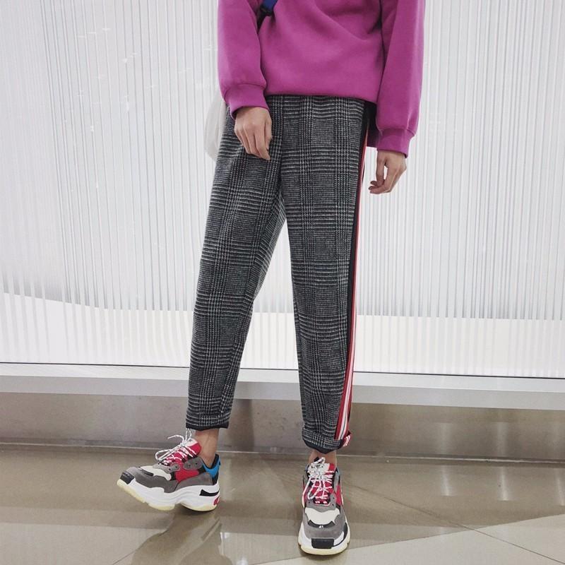 2018 Newest Mens Printing Fashion Trend Lattice Stripe Wool Casual Pants Elastic Waist Trousers Cotton Pants Plus Size S-2XL