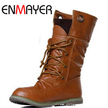 ENMAYER Fashion Motorcycle Martin  Boots for Women Winter Mid-calf Boots Flats Shoes Woman Plus Size 34-43 Shoes Women Boots цены онлайн