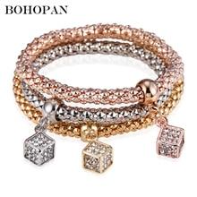 Bohopan 3PCS High Quality Women Bracelets Bangles Set Elastic Three-layer Shine Square Rhinestone in Jewelry