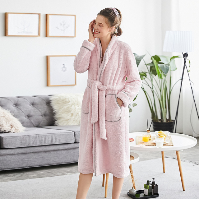 8ce197240c Women s Sleepwear Brief Sweet Solid Color Long Sleeve Pocketed Thicken Robe  Pajama
