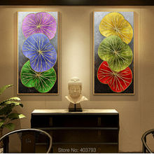 2 Pieces southeast asian style lotu leaf hand painted modern abstract colorful lotus still life oil painting for home decor