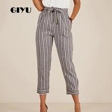 GIYU Striped Printing Women High Waist Pants Casual Slim Pencil Pants Skinny Trousers Tie-up Feminino vaqueros mujer front tie striped overlap pants