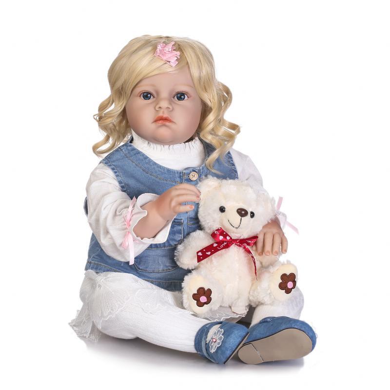 70cm Silicone Reborn Baby Toddler Girl Doll lifelike 28inch Big Size Princess Doll Toy With Bear Clothing Model Girls Brinquedos  70cm silicone reborn baby doll toys lifelike 28 inch big size princess toddler girl reborn dolls toys clothing shop model doll
