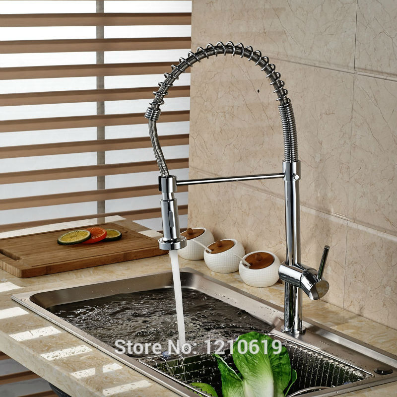 Newly Spring Kitchen Basin Faucet Pull Down Sink Mixer Tap Chrome Hot&Cold Water Faucet Single Hole kitchen chrome plated brass faucet single handle pull out pull down sink mixer hot and cold tap modern design