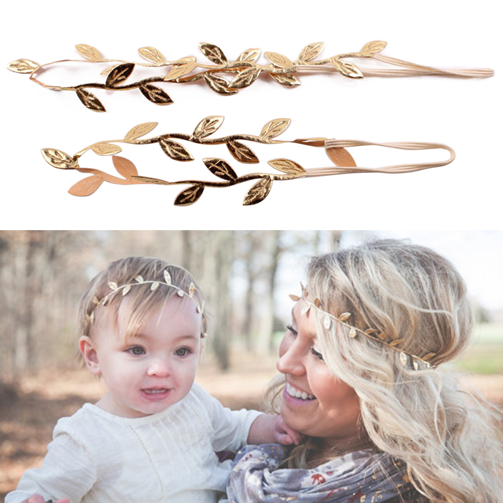 1 Pair Women + Kid Girl Leaves Head Chain Jewelry Headband Head Piece Hair Decor