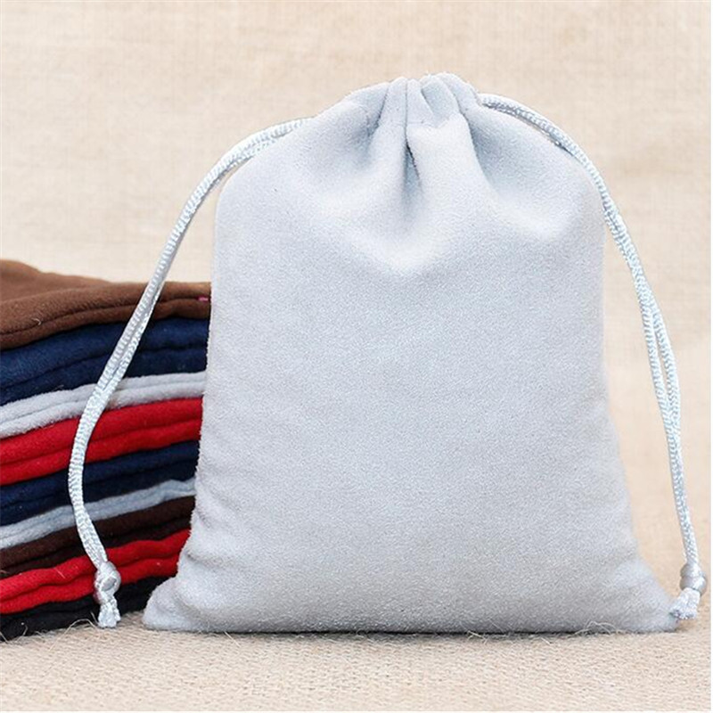 200pcs/lot 7*9cm Double Side Suede Bag Custom Logo Print Pouch Drawstring Bags For Jewelry Earring Ring Wholesale Price