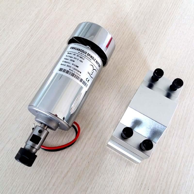 Шпиндель с воздушным охлаждением, 300 Вт, двигатель постоянного тока 12-48 В, постоянный ток, плата ЧПУ-станка для крепления + 52 мм, печатная плат...