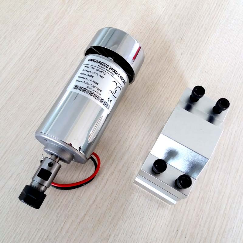 Air Cooled 300W DC Spindle Motor 12-48V DC ER11-3.175mm collect + 52mm Mount bracket fixture for PCB CNC Machine