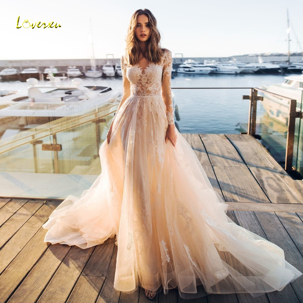 dc058900449d Loverxu Sexy Illusion Long Sleeve Lace Vintage Wedding Dresses 2019  Appliques Beaded Scoop Neck Court Train A Line Bridal Gowns ~ Perfect Deal  July 2019