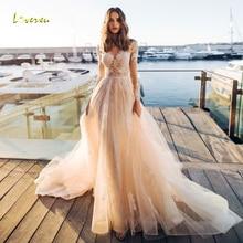 Loverxu Sexy Long Sleeve Wedding Dresses 2019 Court Train