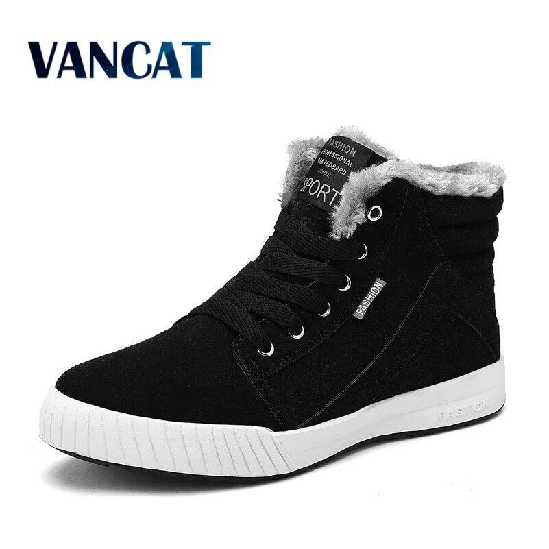 Vancat Men Boots Size 39-48 Fashion Men Winter Boots Waterproof Men Snow Boots Lace Up Men Ankle Boots Warm Winter Shoes Male