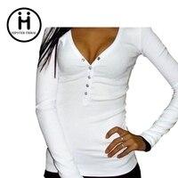 Hot Sale 2016 Sexy Dark V Neck Women T Shirt Punk Long Sleeve Top Tees Women