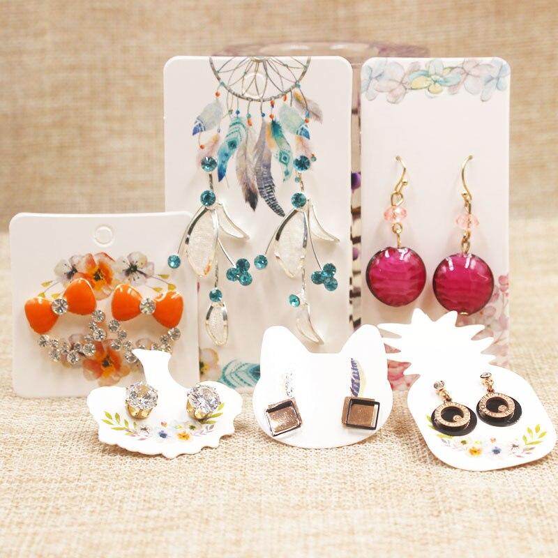 100pcs Pineapple/ Cat/ Life Tree Paper Earring Package Tags Cards DIy Handmade Flower Pattern Cute Stud Earring Package Tag Card