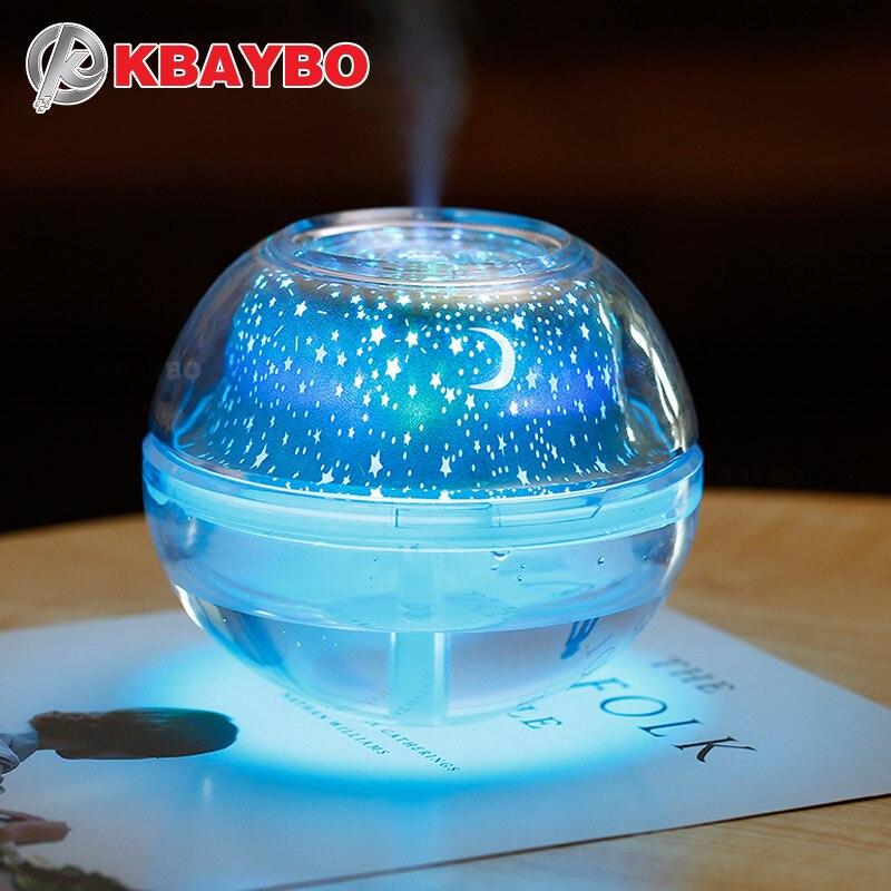 USB Lámpara de noche de cristal 500 ml humidificador de aire escritorio Aroma difusor fabricante de la niebla ultrasónica LED noche luz para casa