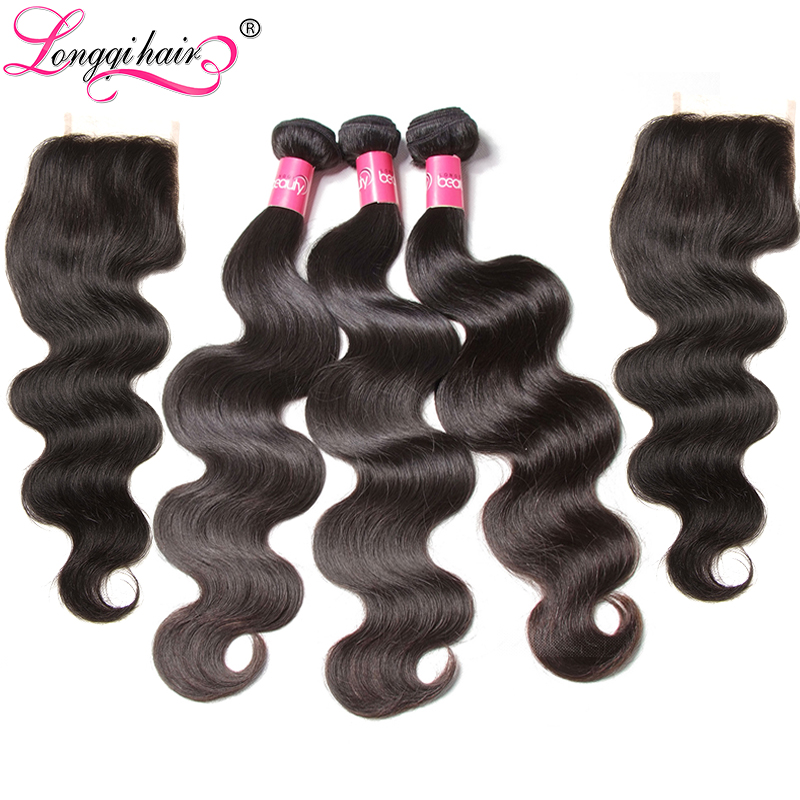 Longqi Peruvian Body Wave 3 Bundles Hair Weft With 2PCS Lace Closure  Remy Hair Bundles With Closure 4*4 Free Middle Three Part(China)