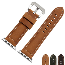 Smart Watchband 22mm 24mm Quality Genuine Leather Watch band For Apple Watch band 38mm 42mm Scrub Leather Strap
