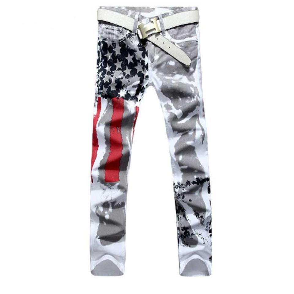 America Flag Printed Hip Hop Jeans Men Slim Straight Denim Biker Jeans Jogger Motorcycle Pants Streetwear Big Sizes