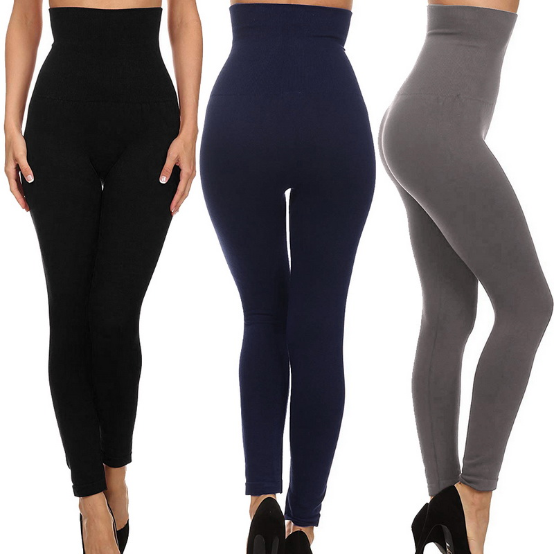 CALOFE High Waist Leggings Fitness Thick Velvet Sexy Women Pants Running Trouser Compression Control Gym Skinny Seamless Sports