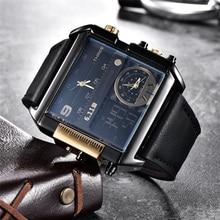 6.11 スクエアウォッチメンズ LED 防水複数のタイムゾーンのメンズ高級ブランドレロジオ Masculino Montre オムスポーツ腕時計