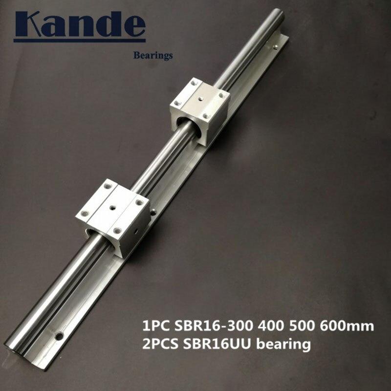 Carril lineal de 16mm SBR16-300, 400, 500, 600mm 1 unid guía lineal SBR16 + 2 piezas SBR16UU bloques para CNC