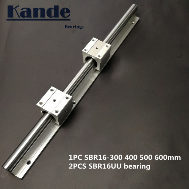 Linear Rail 16mm SBR16 - 300 400 500 600 Mm  1 Pc  Linear Guide SBR16 + 2 Pcs SBR16UU Blocks For CNC