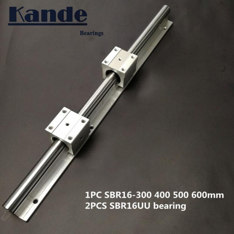 Linear Rail 16mm SBR16 - 300 400 500 600 Mm  1 Pc  Linear Guide SBR16 + 2 Pcs SBR16UU Blocks For CNC