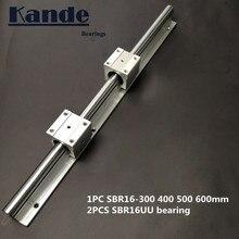 linear rail 16mm SBR16 - 300 400 500 600 mm  1 pc guide + 2 pcs SBR16UU blocks for CNC