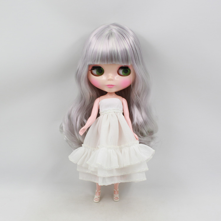 Free shipping Blythedoll nude silver grey long wig with bangs fashion DIY bjd doll sweet girls birthday gifts  цена