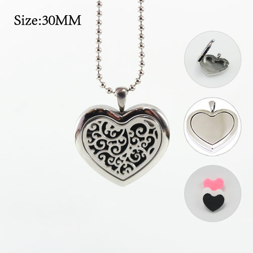 1PC 30x30MM Heart Diffuser Locket Necklace with 3 color felt diffuser pad With chain as gift essential oil locket necklace