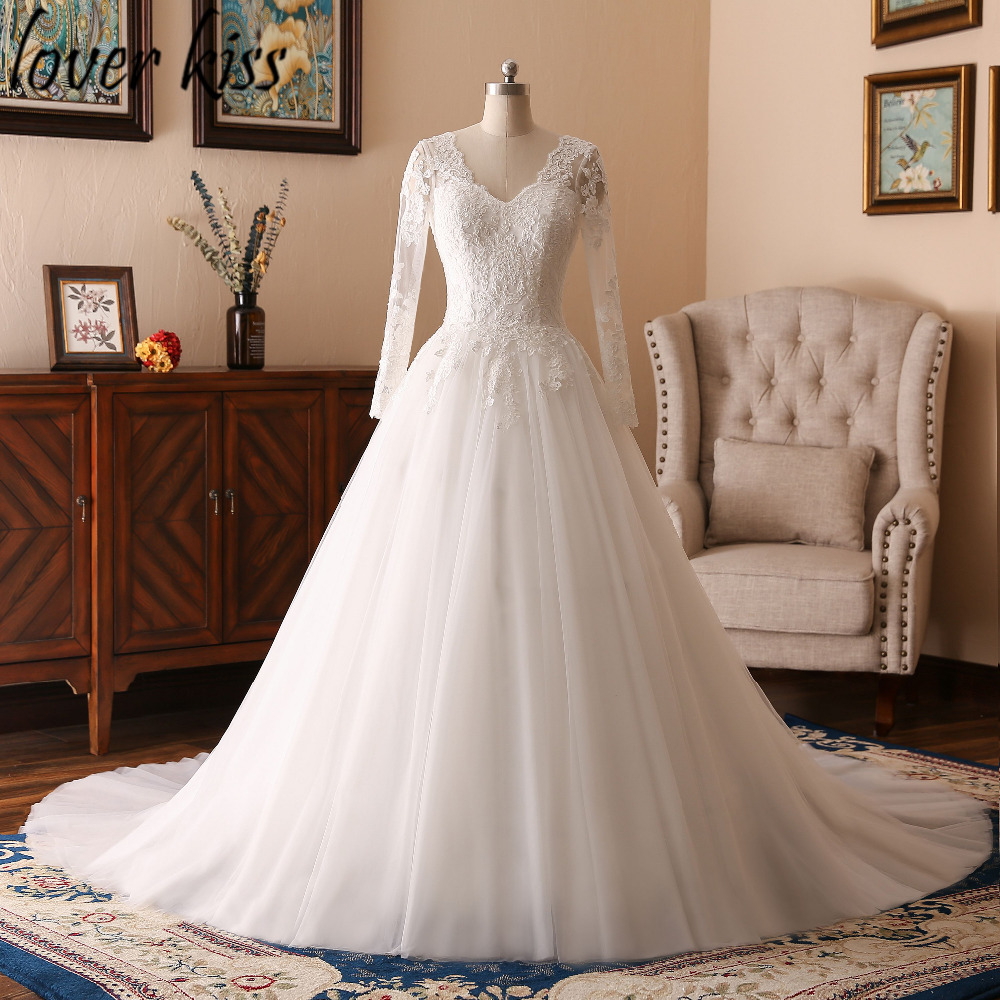 Long Sleeve V Neck Wedding Gown