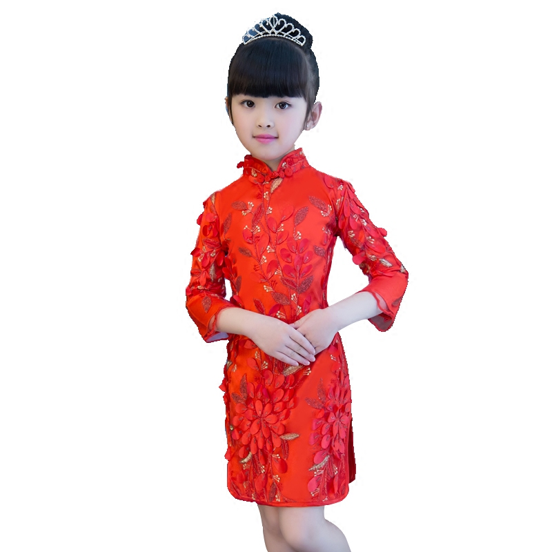 2017New Children Girls Chinese Retro Style Red Color Cheongsam Dress Kids Birthday Wedding Party Zheng Performance Dress Clothes 2017new chinese traditional baby girls chi pao cheongsam red dress new year gift children clothes kids embroidery party dresses