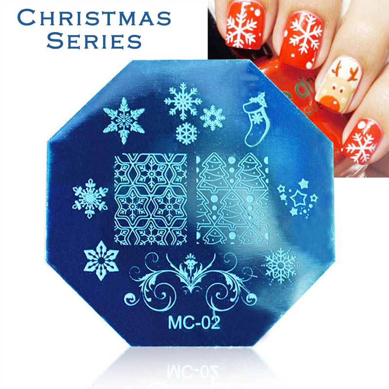 1 Piece Stainless Steel Christmas Style Nail Art Plates Nail Stamping Stencils Image Printing Templates Decoration Nail Polish