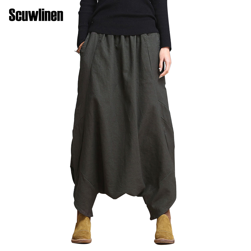 SCUWLINEN 2018 Casual Linen Pants Brand Style Loose Harem Pants Plus Size Elastic Waist Women's Pants Trousers for Women S10 plus size striped harem pants