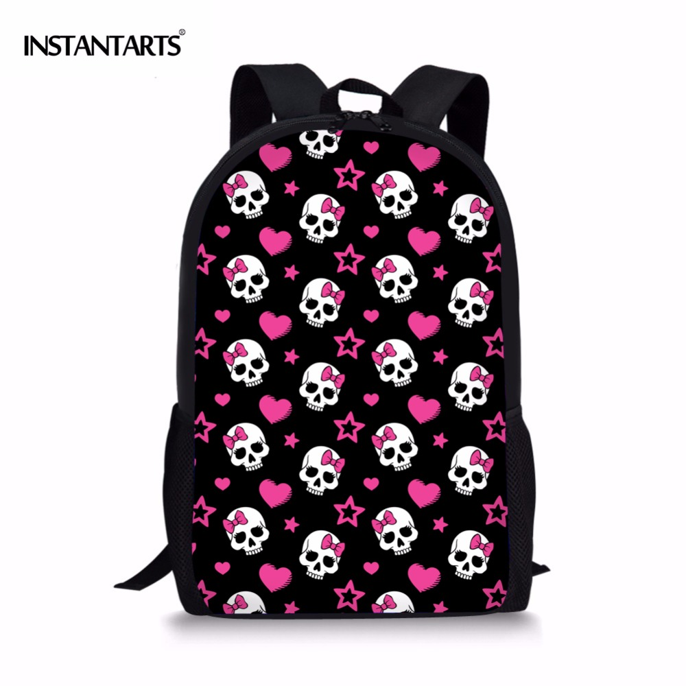 INSTANTARTS 2018 Newest Girls School Bags Cute Skull Schoolbag Children Cartoon Backpacks for Teenagers Women Shoulder Book Bag